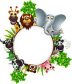Cute animal cartoon collection with blank sign and tropical plant — Cтоковый вектор