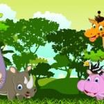 Cute animals wildlife cartoon — Stock Vector #32935947