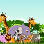 Cute animals wildlife cartoon — Stock Vector #32935955