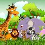Cute animals wildlife cartoon — Stock Vector #32936041