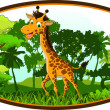 Giraffe cartoon on forest — Stock Vector