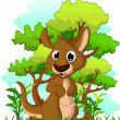 Kangaroo cartoon with forest background — Stock Vector