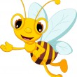 Funny bee cartoon posing — Stock Vector