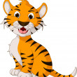 Stock Vector: Cute tiger cartoon posing