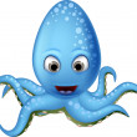 Cute blue octopus cartoon smiling — Stock Vector #32937661