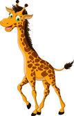 Sevimli zürafa karikatür poz — Stok Vektör