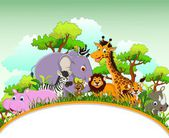 Animals cartoon with blank sign and forest background — 图库矢量图片