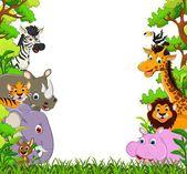 Cartone animato di simpatici animali della fauna selvatica — Vettoriale Stock