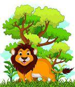 Dibujos animados de león con fondo de bosque — Vector de stock
