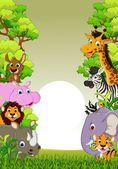Zwierzęta ładny dzikość kreskówka — Wektor stockowy