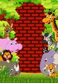 Cute animals wildlife cartoon — Stock Vector