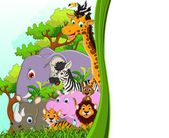 Animals cartoon with blank sign and forest background — Stock Vector