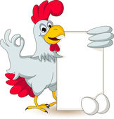 Funny chicken holding blank sign — Stock Vector