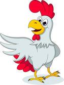 Cute white hen cartoon posing — Stock Vector