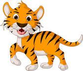 Cute tiger cartoon posing — Stock Vector