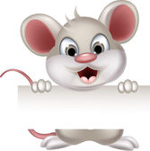 Funny mouse cartoon with blank sign — Cтоковый вектор