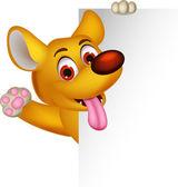Dog cartoon posing with blank sign — Stock Vector