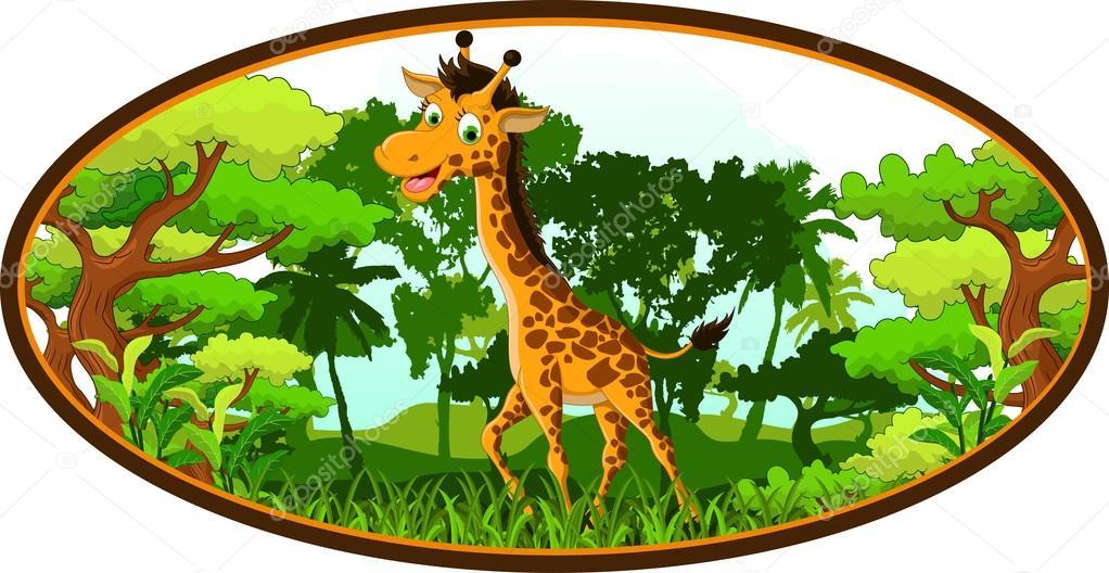 Dibujos Animados De Jirafa En El Bosque