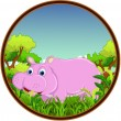 Hippo with forest background — Stock Vector