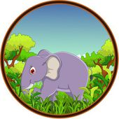 Elephant cartoon with forest background — Vector de stock