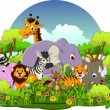 Cute animals wildlife cartoon — Stock Vector