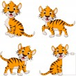 Stock Vector: Cute tiger cartoon collection