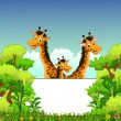 Family of giraffe cartoon with  blank sign and forest background — Stock Vector