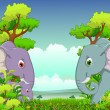 Couple elephant cartoon with forest background — Imagen vectorial