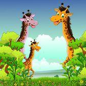 森林の背景を持つキリン漫画 — ストックベクタ
