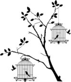 Tree silhouette with birds flying and bird in a cage — Stock Vector