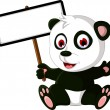 Stock Vector: Cute cartoon pandposing with white board