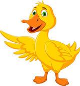 Cute duck cartoon posing — Stock Vector
