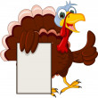 Funny Turkey Cartoon Posing with blank sign — Imagens vectoriais em stock