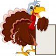 Funny Turkey Cartoon Posing with blank sign — Stock Vector #34204789