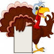 Funny Turkey Cartoon Posing with blank sign — Stock Vector #34204799