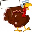 Funny Turkey Cartoon Posing with blank sign — Stock Vector #34204803