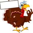 Funny Turkey Cartoon Posing with blank sign — Stock Vector