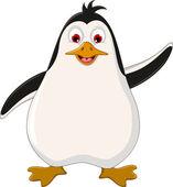 Pinguino carino cartone animato sventolando — Vettoriale Stock