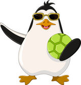 Cute penguin cartoon holding green ball — Stock vektor