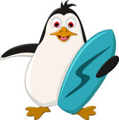 Cute penguin cartoon holding surfboard — Vecteur