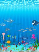 Sea life cartoon background — Stock Vector