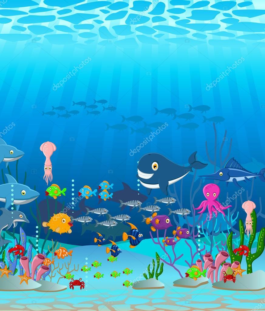 Havet liv tecknade bakgrunden stock vektor for Sfondo animato pesci