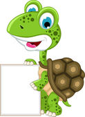 Turtle cartoon with blank sign — Stock vektor