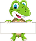 Turtle cartoon with blank sign — Stock Vector