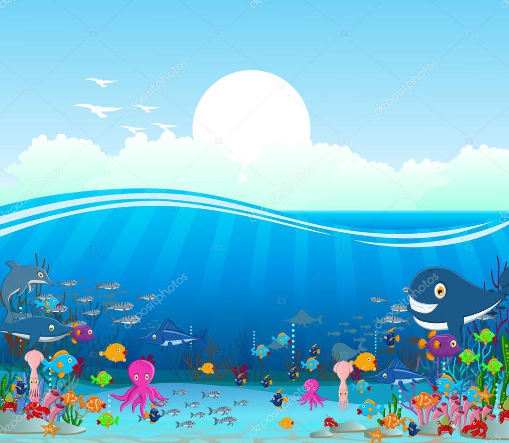 Dibujos Animados Fondo Del Mar Fondo de Dibujos Animados
