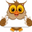 Cute owl cartoon holding blank sign — Stock Vector