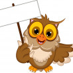 Cute owl cartoon holding blank sign — Stock Vector #35787103