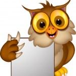 Owl cartoon with blank sign — Stock Vector