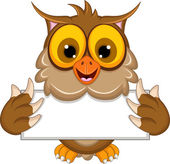 Cute owl cartoon holding blank sign — Vector de stock