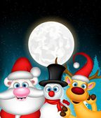 Santa claus reindeer and snowman posing — Stockvector